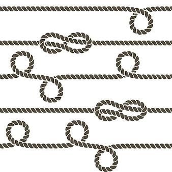Cuerda azul marino con nudos marinos vector de patrones sin fisuras