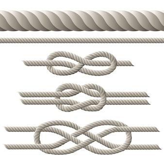 Cuerda sin costuras y cuerda con diferentes nudos.