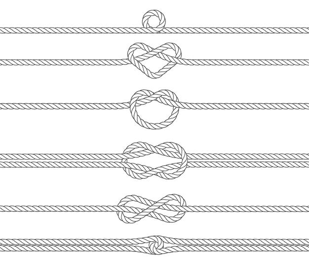 Cuerda marina náutica, bordes para divisor y marco, ilustración vectorial