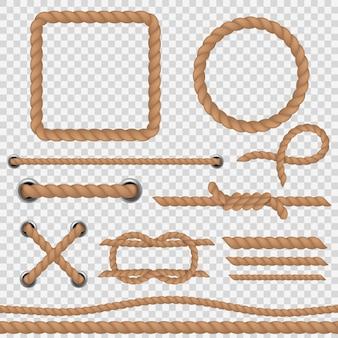 Cuerda marrón cuerdas realistas cable marino, náutico curvo redondo hilo de cáñamo yute frontera marco vintage. conjunto