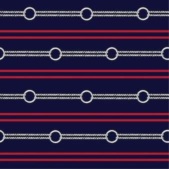 Cuerda náutica en diseño de franja herizontal para moda, tela, papel pintado, tela y todas las impresiones.