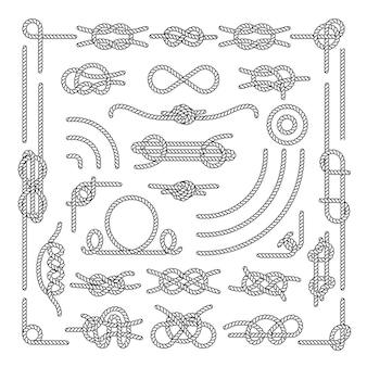 Cuerda náutica nudos decorativos elementos vintage. conjunto de nudos de cuerda