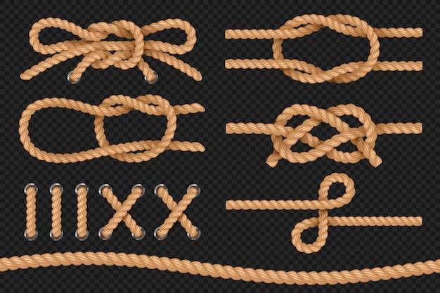 Cuerdas marinas textura de cordón retorcido, bordes de cuerdas náuticas, corbata de lazo. conjunto