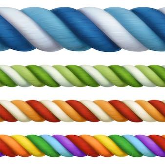 Cuerdas multicolores, elementos de diseño vectorial de patrones sin fisuras