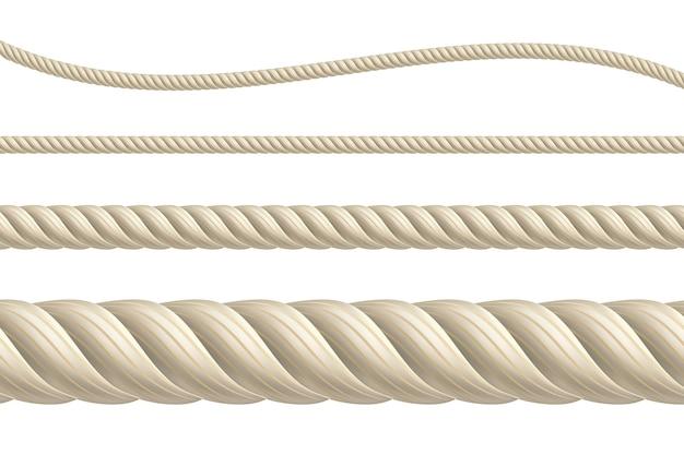 Cuerdas vectoriales realistas conjunto de cuerdas marrones realistas aisladas cordón grueso, fino, recto y ondulado