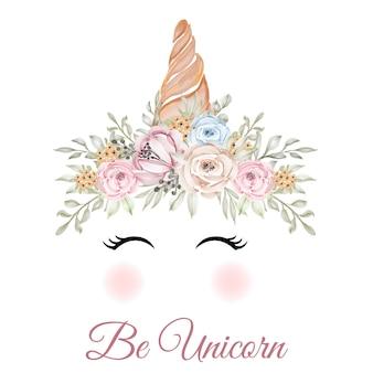 Cuerno de unicornio con corona de flores color de rosa verde amarillo