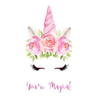 Cuerno de unicornio con flores ilustración acuarela
