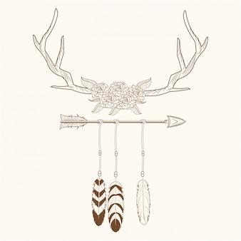 Cuernos de espíritu libre con plumas de estilo rústico