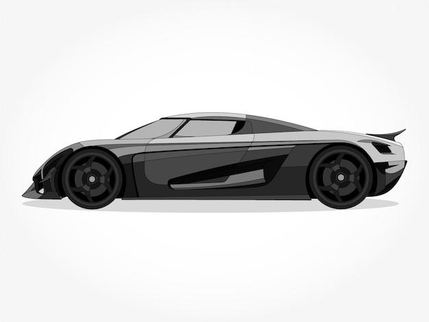 Cuerpo detallado y bordes de una ilustración de vector de dibujos animados de coche de color plano con trazo negro y efecto de sombra
