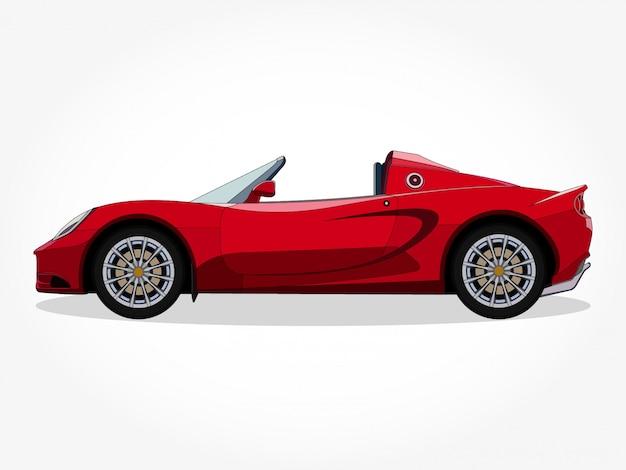 Cuerpo detallado y bordes de una ilustración de vector de dibujos animados de coche convertible con trazo negro