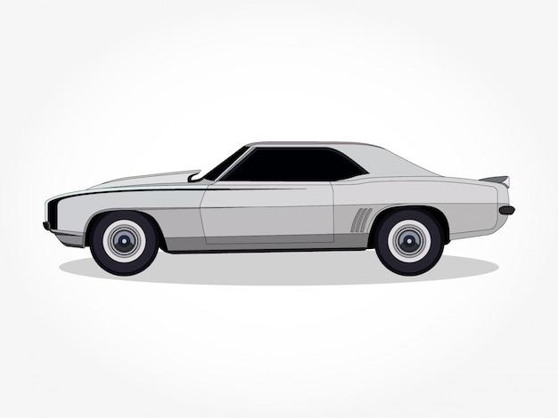 Cuerpo detallado y llantas de una caricatura de coche de color plano