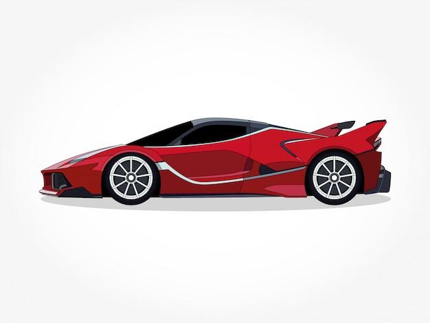 Cuerpo detallado y llantas de la ilustración de dibujos animados de coches