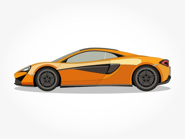 Cuerpo detallado y llantas de una ilustración de vector de dibujos animados de coche deportivo