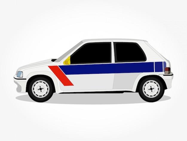 Cuerpo detallado y llantas de una ilustración de vector de dibujos animados de coche vintage