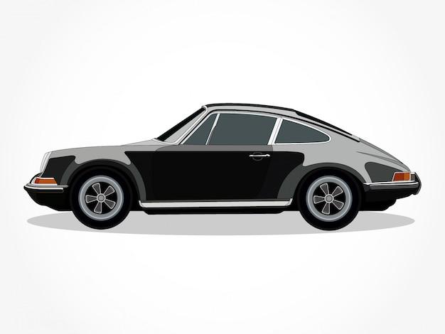 Cuerpo detallado y llantas de una ilustración de vector de dibujos animados de coche