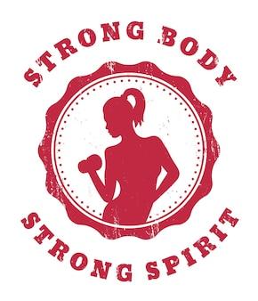 Cuerpo fuerte, espíritu fuerte, diseño de camiseta de gimnasio con una chica atlética posando