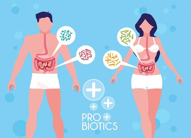 Cuerpo de hombre y mujer con organismos probióticos.