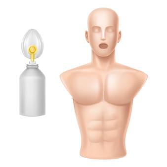 Cuerpo humano para entrenamiento de respiración artificial.