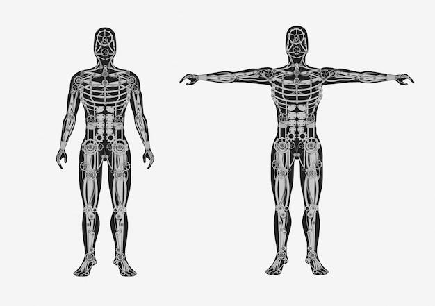 Cuerpo humano mecánico. cyborg mecánico con partes del cuerpo de metal autómata artificial.