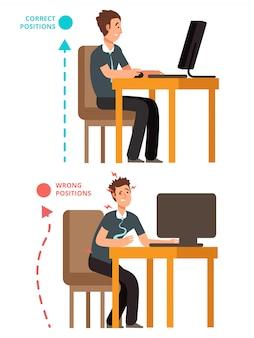 Cuerpo incorrecto y correcto, persona sentada ilustración correcta o incorrecta