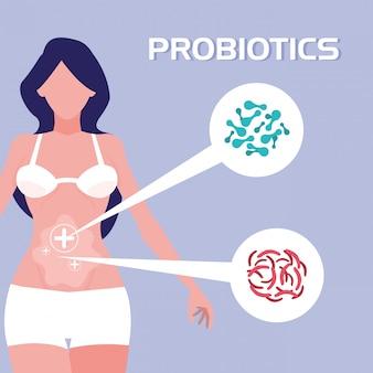 Cuerpo de mujer con organismos probióticos.