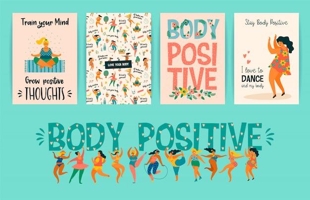Cuerpo positivo niñas felices de talla grande y estilo de vida saludable y activo