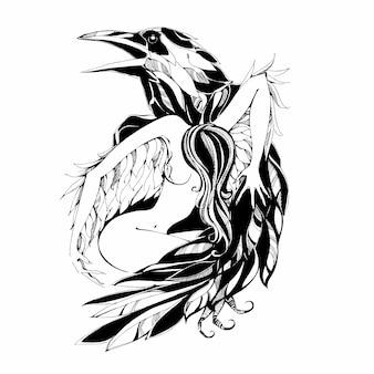 Cuervo y ángel