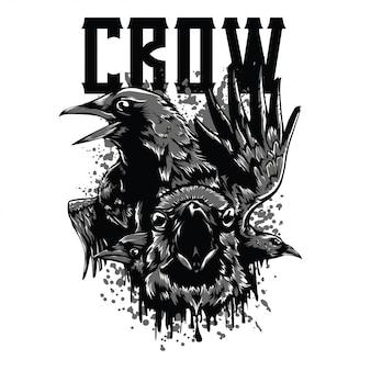 El cuervo blanco y negro ilustración
