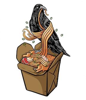 Cuervo comiendo ilustración de fideos ramen