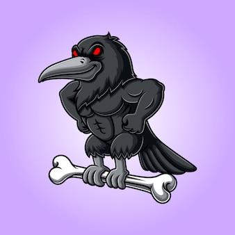 Cuervo enojado llevando hueso