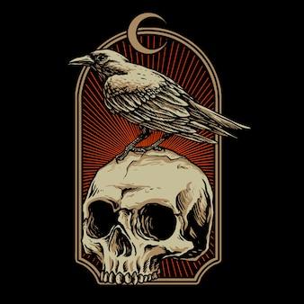 Cuervo con ilustración de calavera