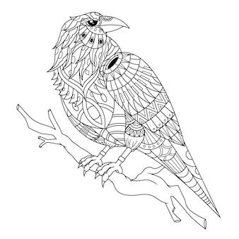 Cuervo mandala zentangle ilustración en estilo lineal