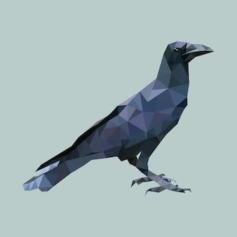 Cuervo poligonal, pájaro triángulo polígono, vector animal aislado