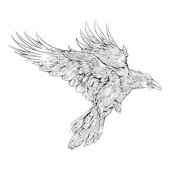 Cuervo volando en la mano dibujo