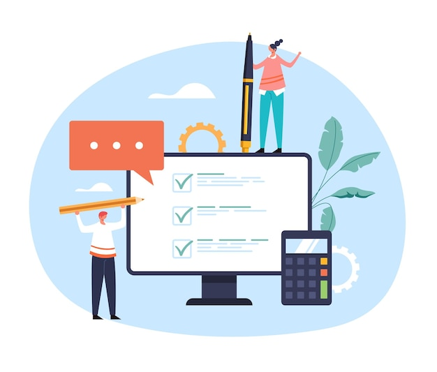 Cuestionario de análisis de preguntas en línea elección de prueba de opinión concepto de servicio de internet web en línea.