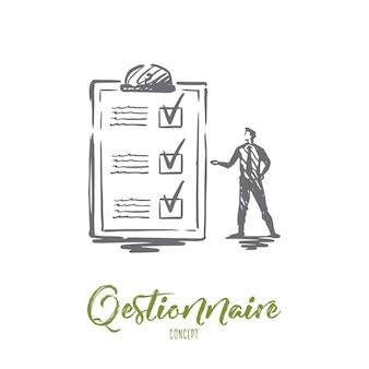 Cuestionario, formulario, prueba, lista de verificación, concepto de encuesta. boceto de concepto de formulario de encuesta y persona dibujada a mano.