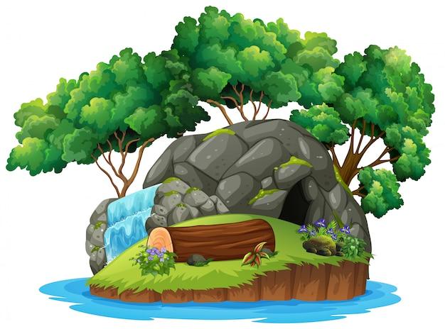 Una cueva aislada isla