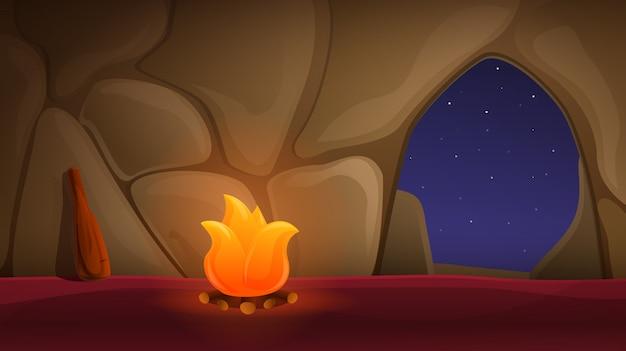 Cueva antigua de dibujos animados con hoguera, ilustración vectorial