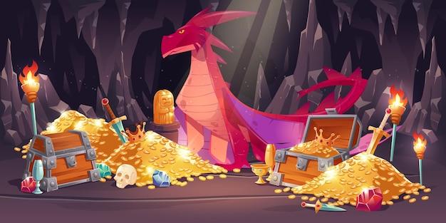 Cueva con dragón rojo y tesoro, montones de monedas de oro, joyas y gemas.