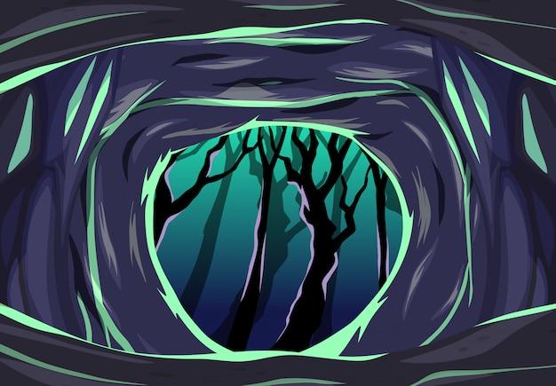 Cueva oscura con una escena de estilo de dibujos animados de árbol oscuro