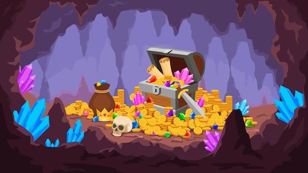 Cueva del tesoro. mina con pila de monedas de oro, cristales, cofre viejo con mapa y gema, bolsa de dinero y calavera. escena de vector de tesoro pirata de dibujos animados. cueva de ilustración con gema y tesoro
