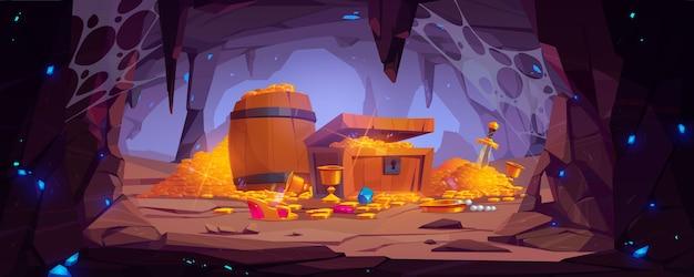 Cueva del tesoro con monedas de oro en el pecho y barril de madera, gemas de cristal, corona, espada en pila de oro y cáliz con rocas preciosas, tumba mágica de fantasía antigua o mía, ilustración vectorial de dibujos animados