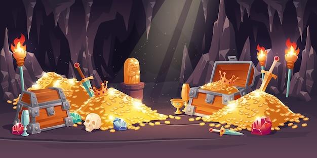Cueva con tesoro, pila de monedas de oro, joyas y gemas.