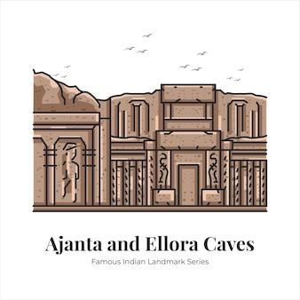 Cuevas de ajanta y ellora indio famoso punto de referencia icónico ilustración de arte de línea de dibujos animados
