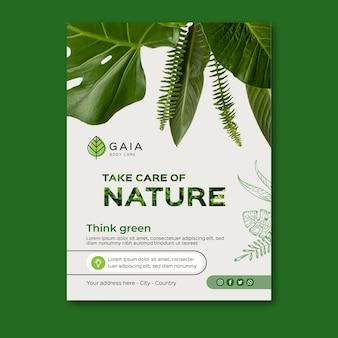 Cuida la plantilla de póster del medio ambiente de la naturaleza