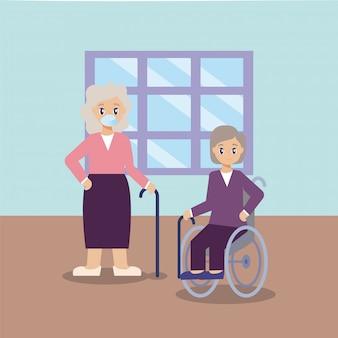 Cuidado de ancianos, ancianas en la sala de estar