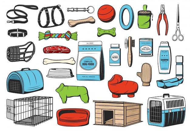 Cuidado de animales para perros, iconos de la tienda de mascotas