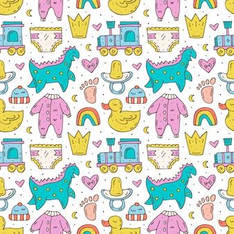 Cuidado del bebé cosas, ropa, juguetes de dibujos animados de patrones sin fisuras