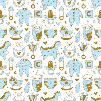 Cuidado del bebé cosas, ropa, juguetes lindo dibujado a mano de patrones sin fisuras