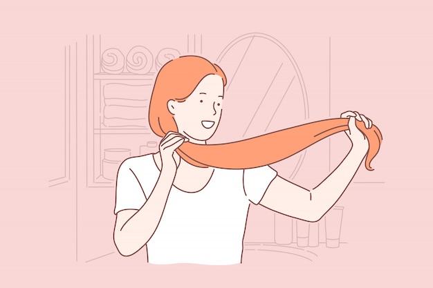 Cuidado del cabello, peinado, belleza, concepto de procedimiento de salón
